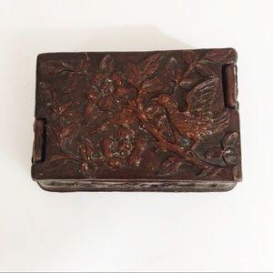 Vintage Ornate Syroco Wood Trinket Jewelry Box